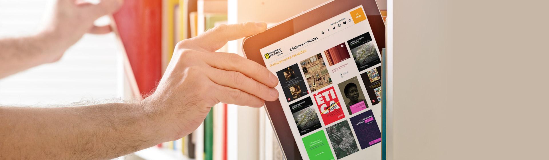 Foto de una tableta con la página de Ediciones Uniandes
