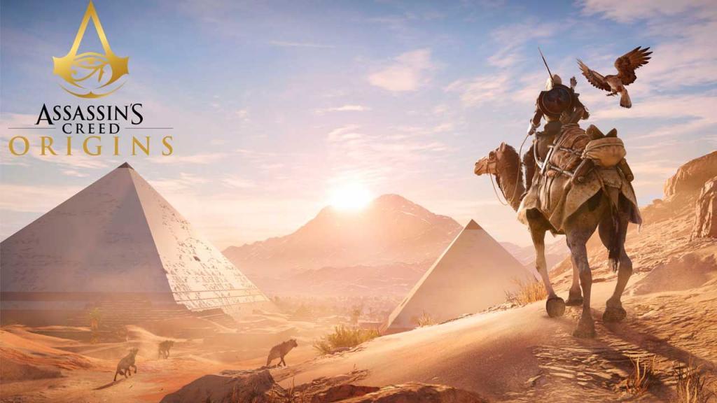 Imagen del juego Assassin's Creed donde va un hombre en un camello por el desierto.