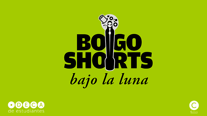 Logo de Bogoshorts bajo la luna