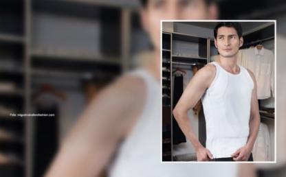 Modelo exhibe camiseta blindada creada por uniandino