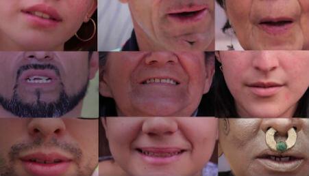collage de rostros de personas, se ven solo las bocas