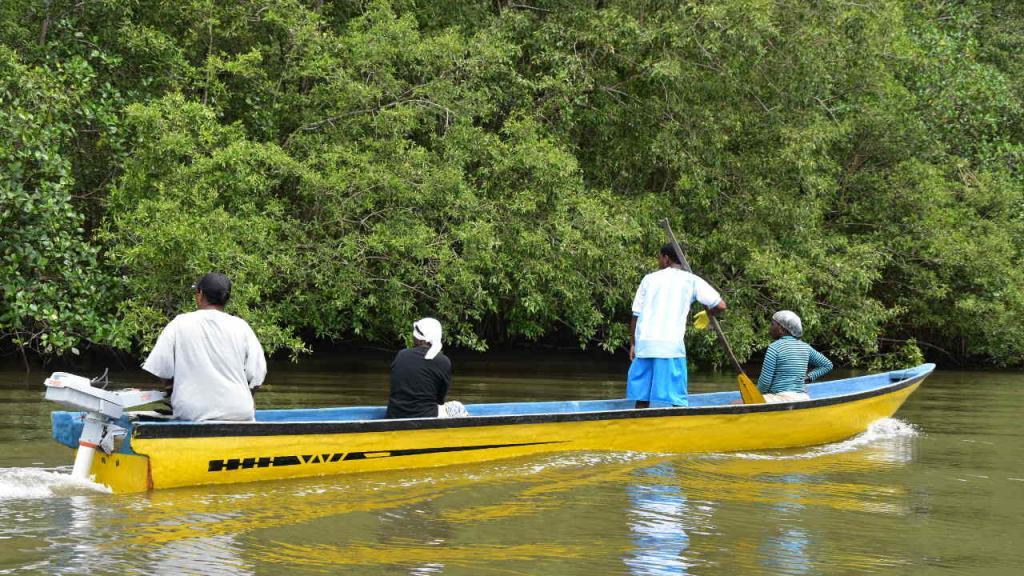 Una embarcación con motor, a la orilla de un río.