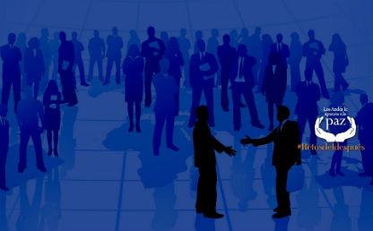 ilustracion con siluetas de gente dándose la mano