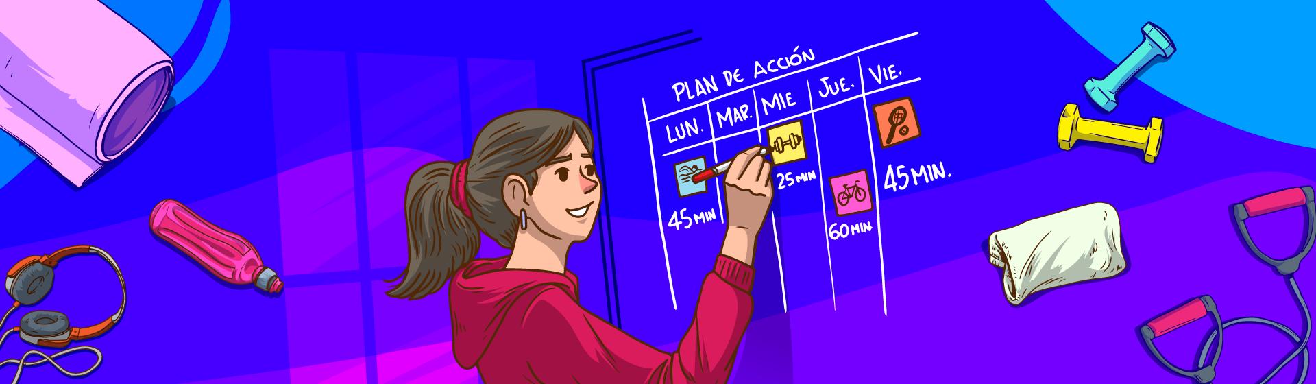 Ilustración de una mujer frente a un tablero escribiendo un horario de actividad física