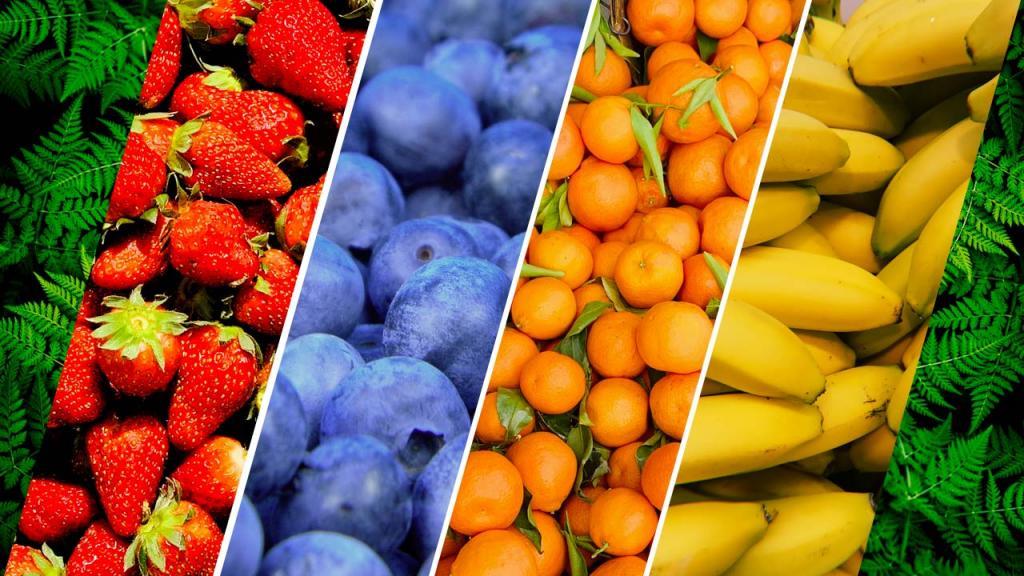 Composición gráfica de varias frutas