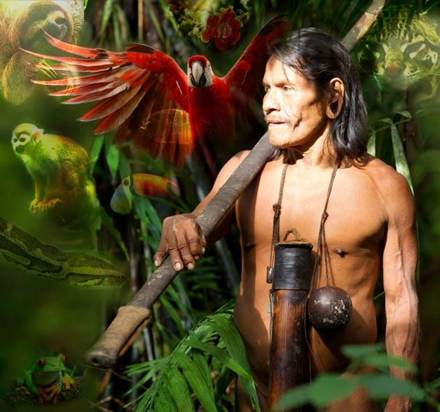 Indígena amazónico en la selva con animales alrededor