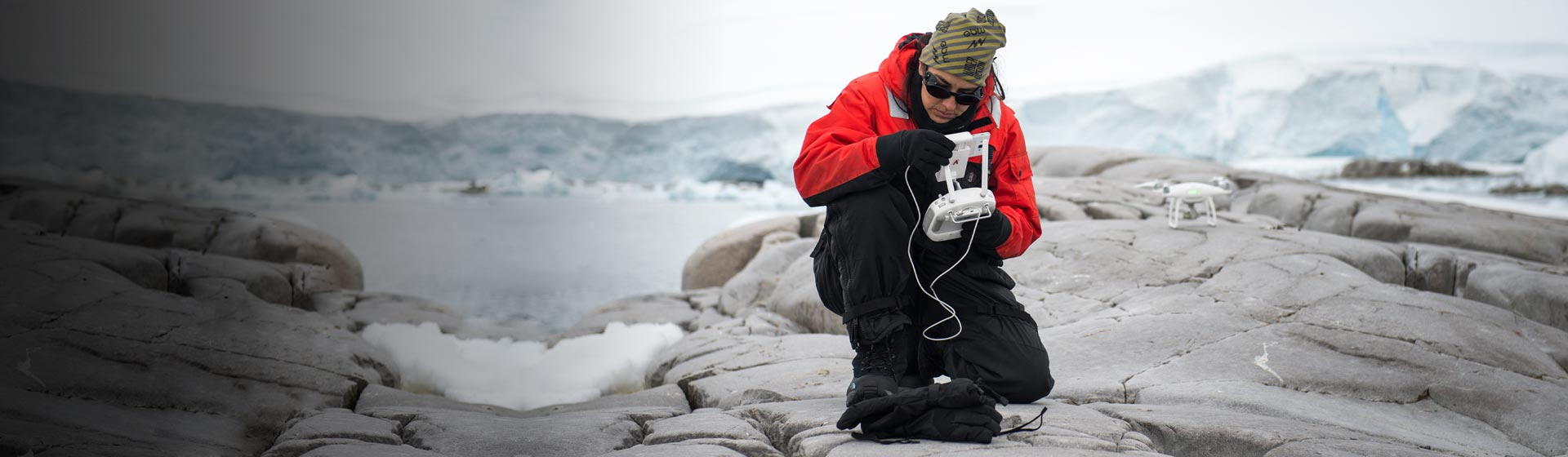 Antarctic Panorama with researcher Natalia Jaramillo