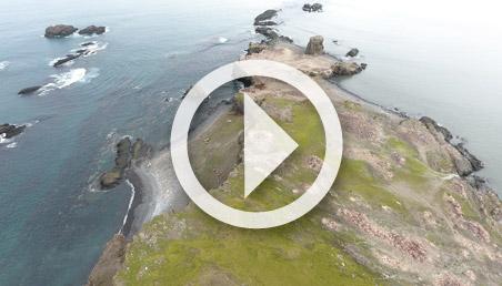 Panorámica de una isla en Antártida