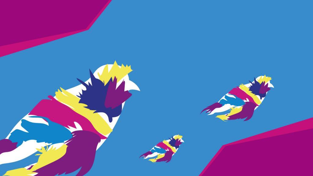 Graficación invitación al evento pájaros de colores
