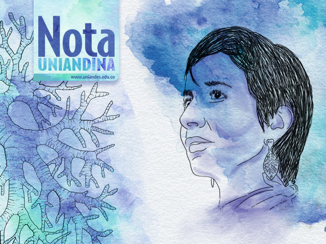 Illustration of Ana Cecilia Niño, victim of asbestos, with lung.