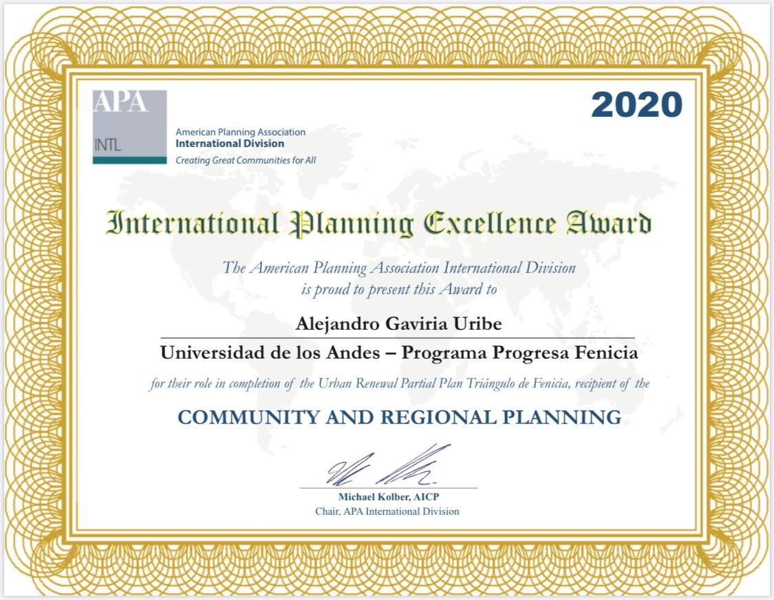 Imagen del diploma del premio