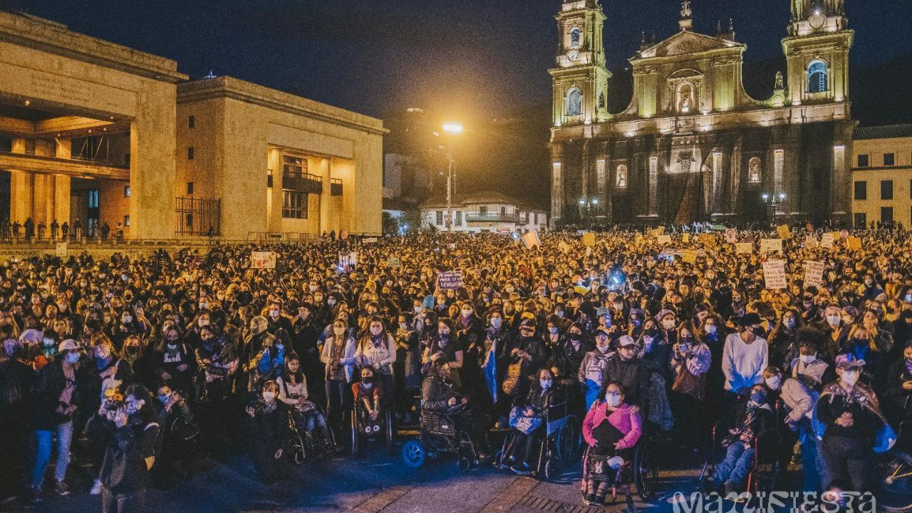 Foto de la marcha de las mujeres del 8 de marzo de 2021.