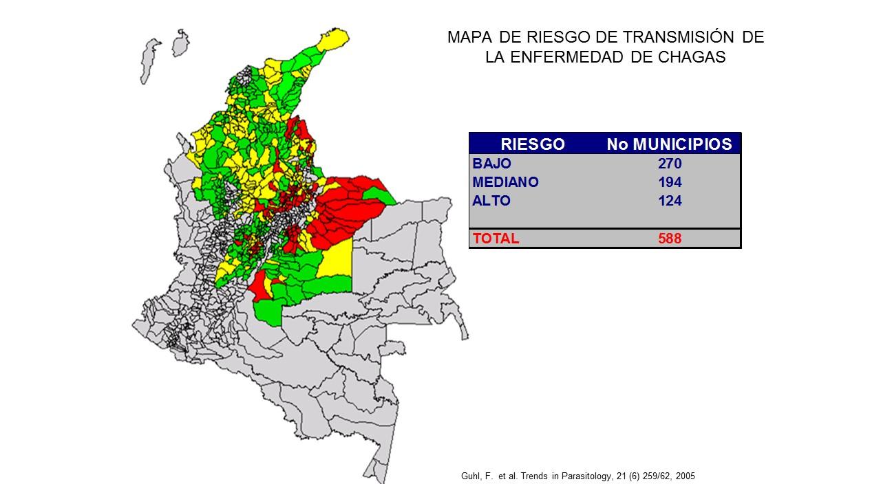 Imagen con las zonas con riesgo de contagio de la enfermedad de Chagas en Colombia.