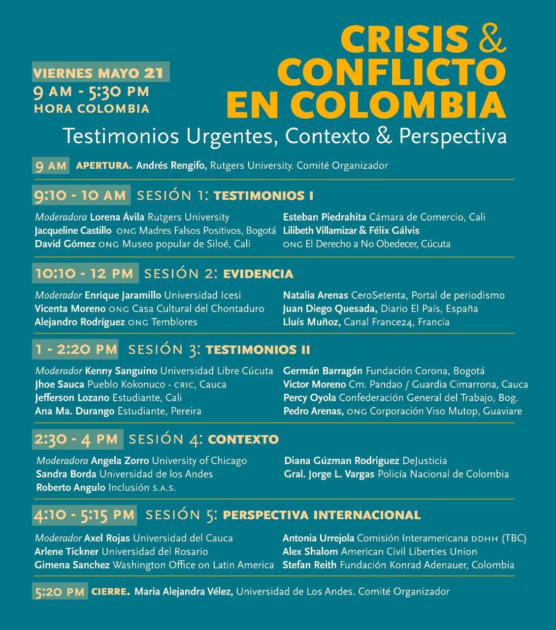 Afiche del foro Crisis y Conflicto en Colombia