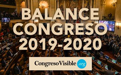 Fondo del Congreso con las palabras Balance Congreso 2019-2020.