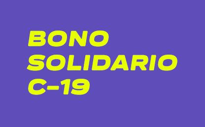 Imagen con el texto Bono Solidario C-19