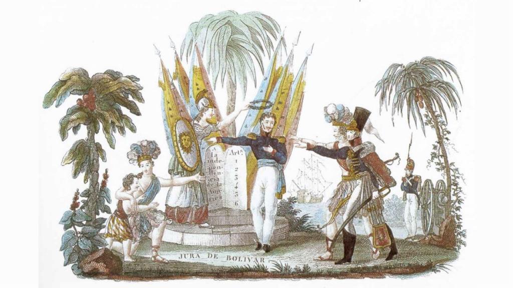Ilustración de Simón Bolívar y de soldados alusivos a la independencia.
