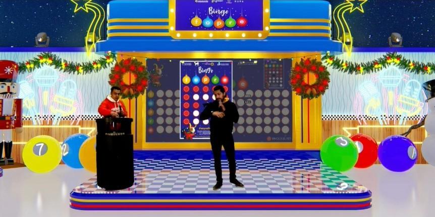 Imagen set virtual con los presentadores del Bingo FOPRE 2020
