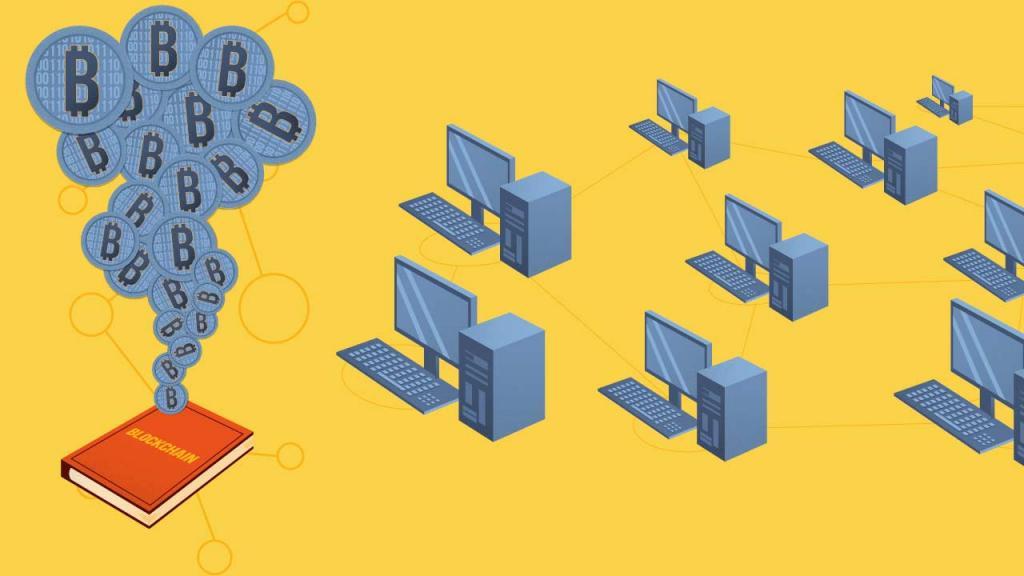 La cadena de bloques contiene información como las transacciones relativas a un periodo y la dirección criptográfica del bloque anterior.