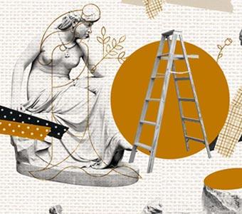 Collage de esculturas de mujeres, junto a una escalera