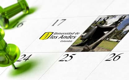 Composición gráfica de un calendario con imágenes de Uniandes
