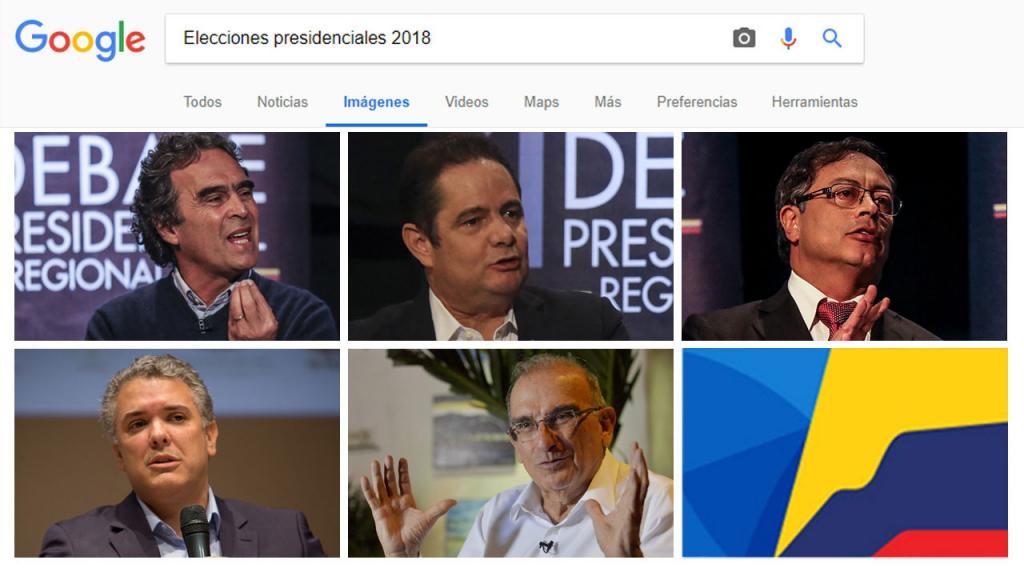 Imagen de candidatos presidenciales 2018 en la plataforma Google