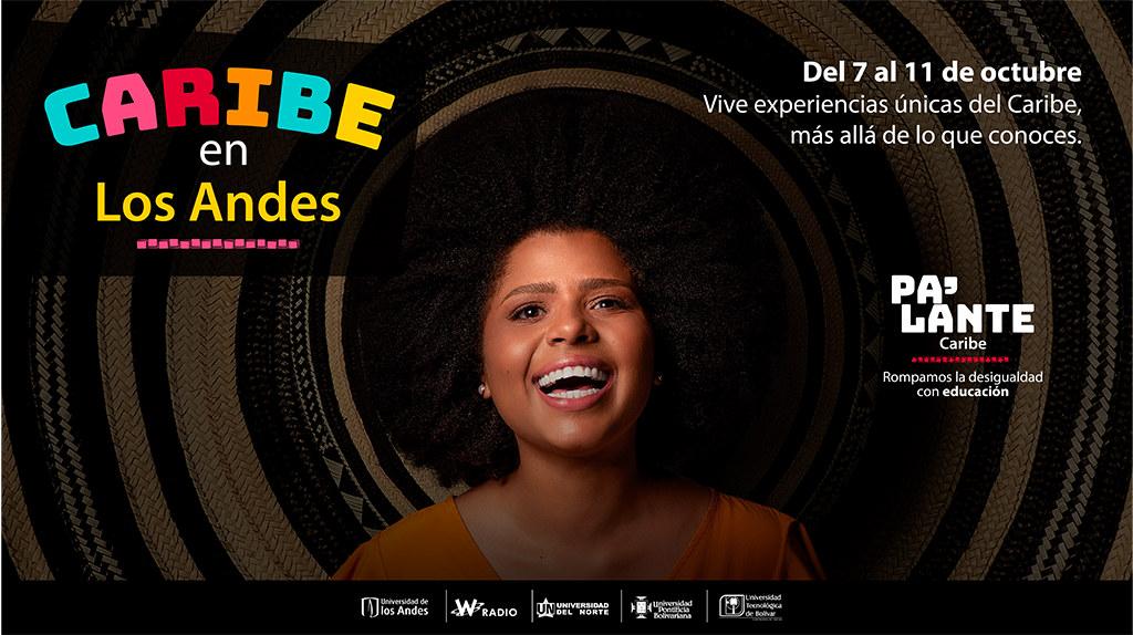 Imagen promocional de mujer, acompañada de título Caribe en los Andes