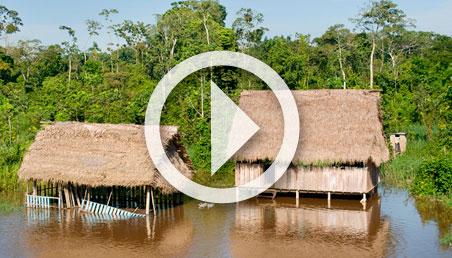 Dos casas de pueblos indígenas, en el medio del río Amazonas.