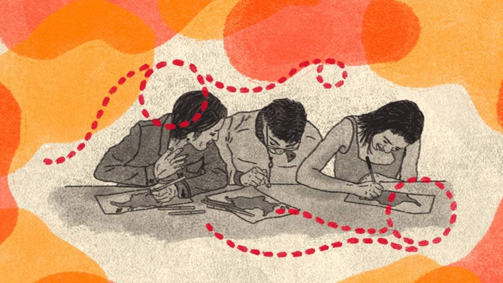 Dibujo de jóvenes dibujando