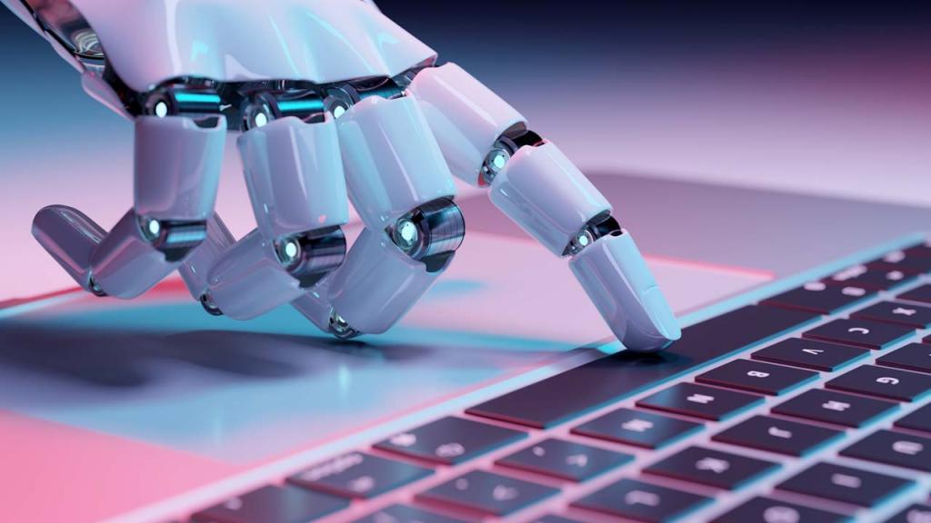 Mano de robot digitando