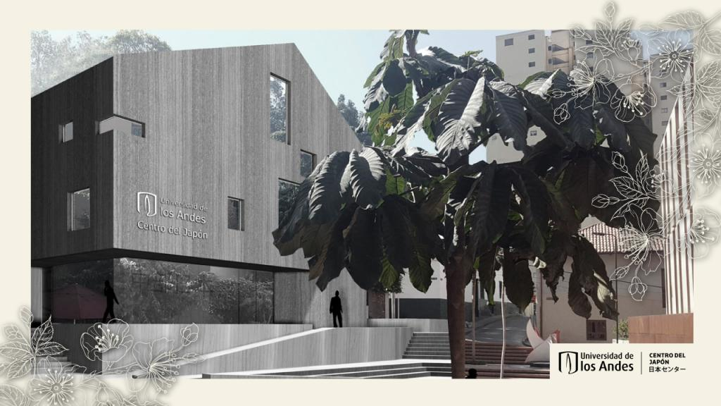 : Image of the render of the Japanese Center at the Universidad de los Andes.