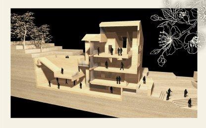 Imagen de render del Centro de Japón de la Universidad de los Andes. Vista aérea.