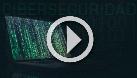 Gráfica pantalla de computador y la palabra Ciberseguridad
