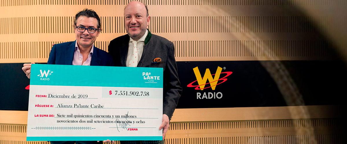 Cheque Balance cierre campaña Pa'lante Caribe W Radio