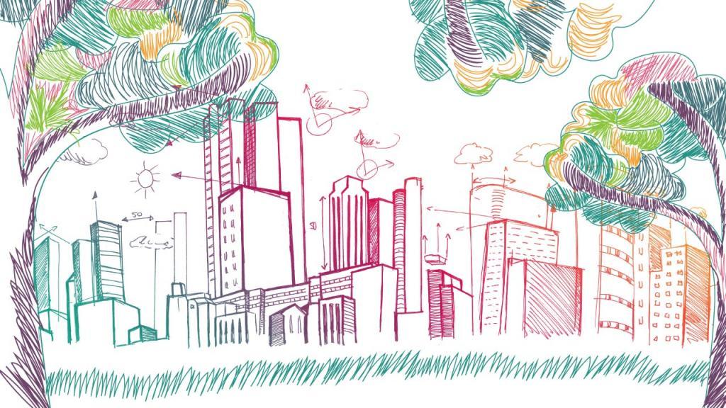 Ilustración de una ciudad llena de edificios.