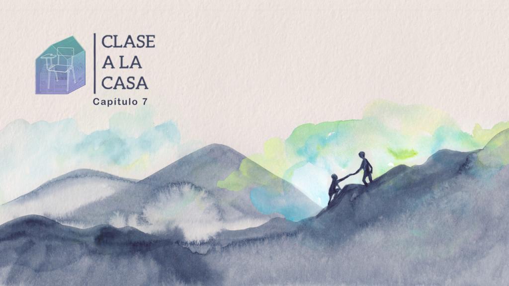 Ilustración de dos personas subiendo una montaña.