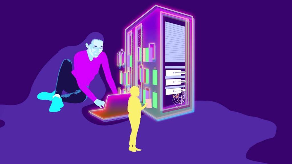 Ilustración de una persona con un portátil