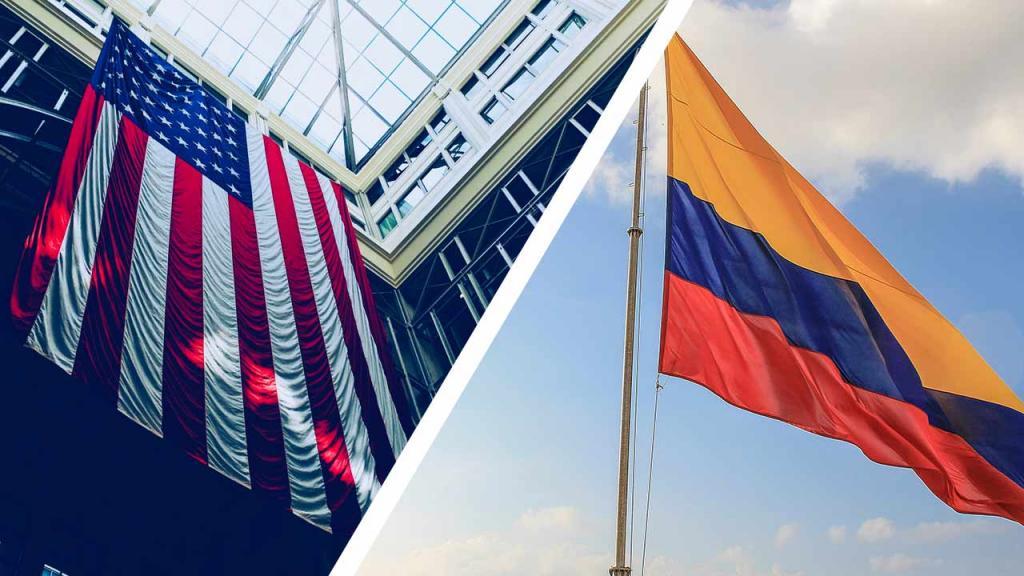 Imagen banderas de Colombia y Estados Unidos