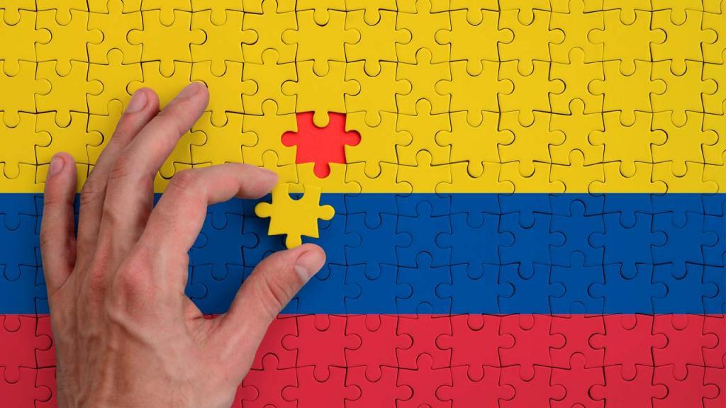 Foto de una bandera de Colombia