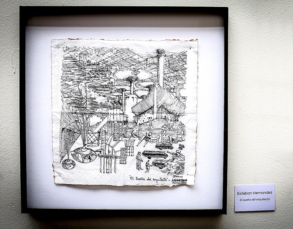 Dibujo en servilleta titulado 'El sueño del arquitecto'