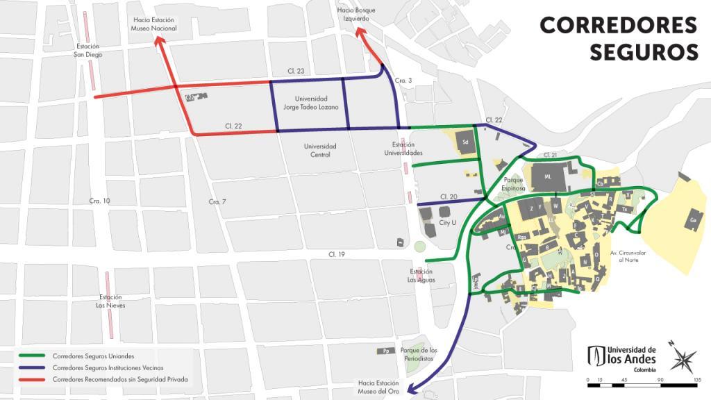 Mapa de corredores seguros cerca a la Universidad
