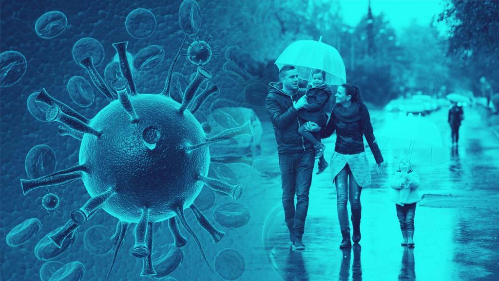Familia con sombrilla bajo la lluvia en un fondo con imagen de coronavirus