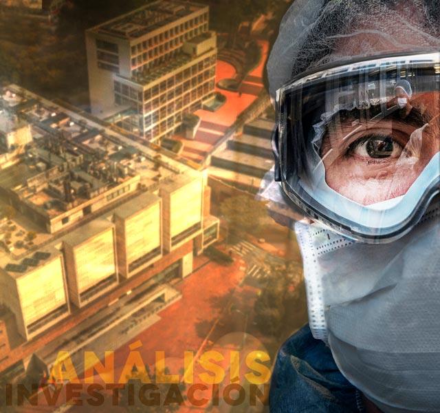 Investigador con gafas de protección
