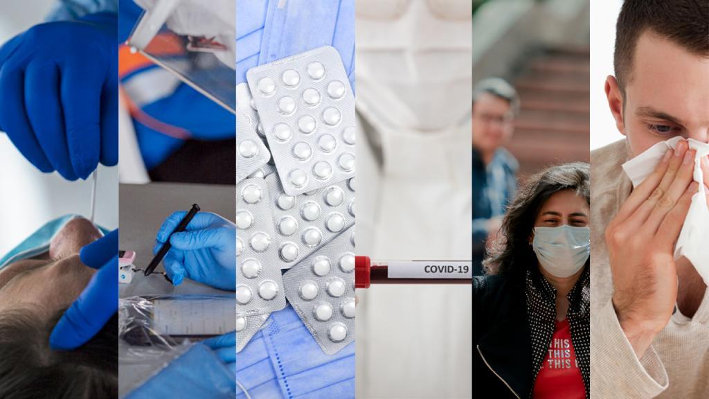 Collage de imágenes que muestran toma de pruebas de covid, bioseguridad, medicamentos y personas con síntomas
