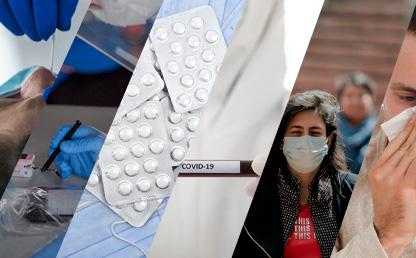 Collage de imágenes que muestran toma de pruebas de covid, bioseguridad, medicamentos y personas con síntomas Eduardo Behrentz