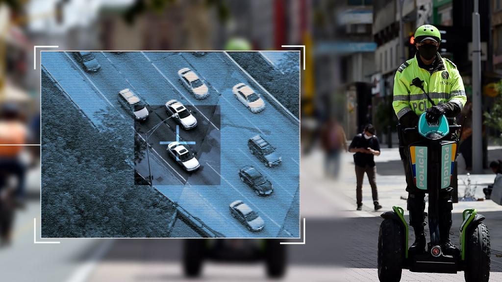 Policía haciendo ronda con la imagen de una cámara de seguridad