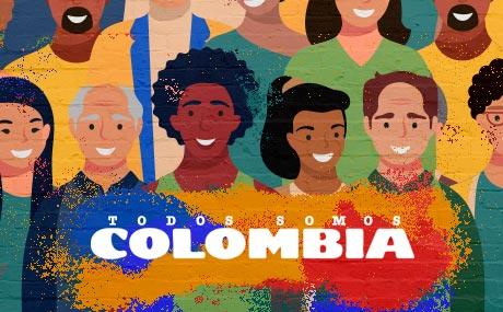 Composición artística sobre la crisis social en 2021 en Colombia