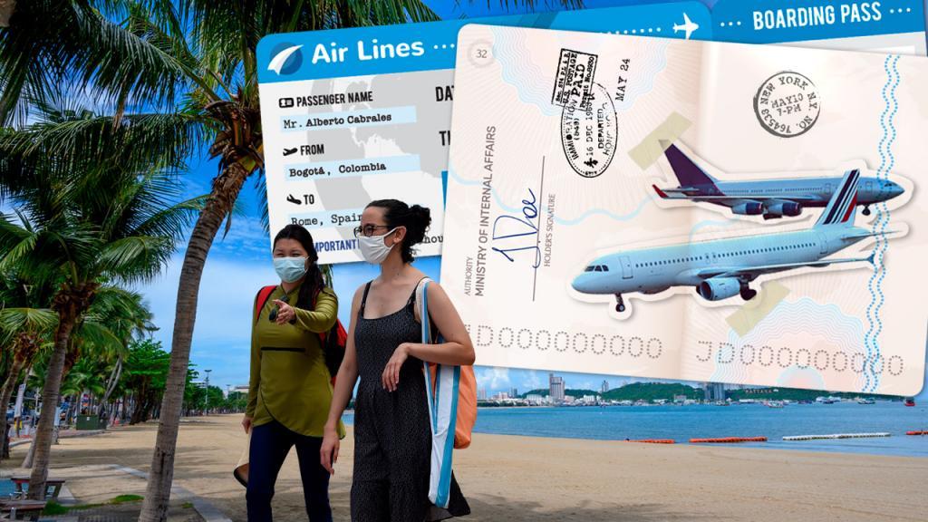 Collage de playa vacía, tiquete aéreo, pasaporte, aviones y turistas con tapabocas. Eduardo Behrentz