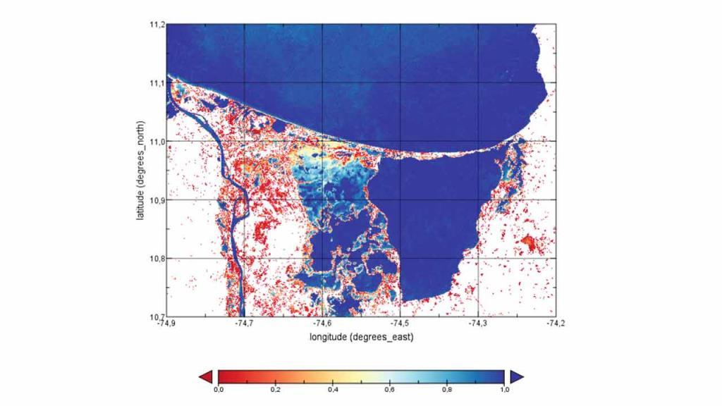 Mancha azul sobre un mapa que presenta índices de latitud