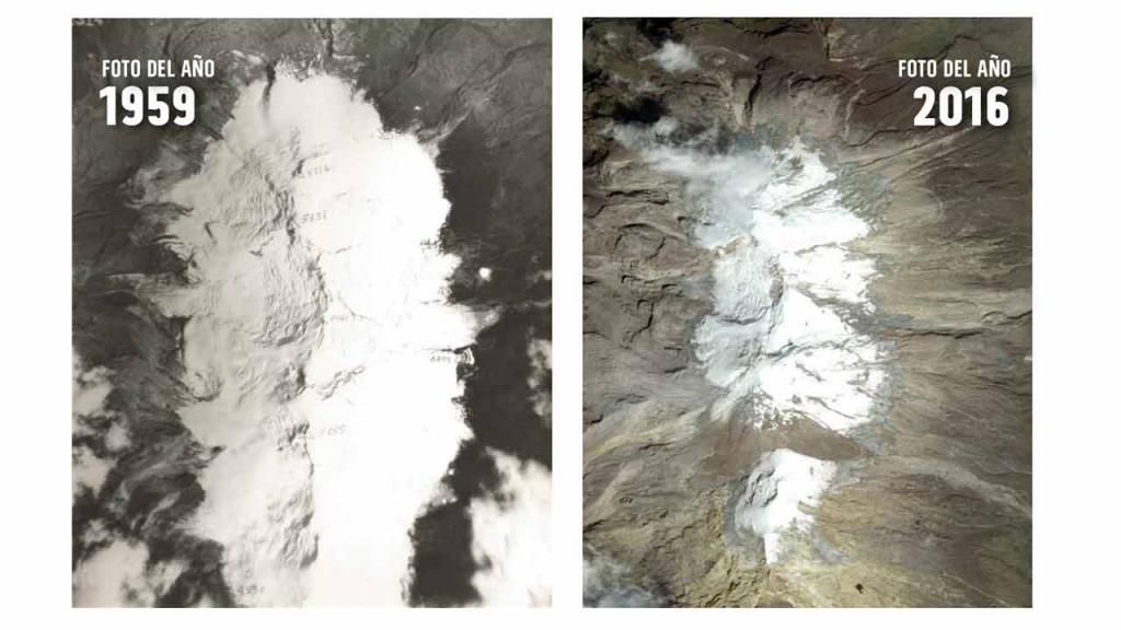 Imagen satelital del Nevado del Ruiz
